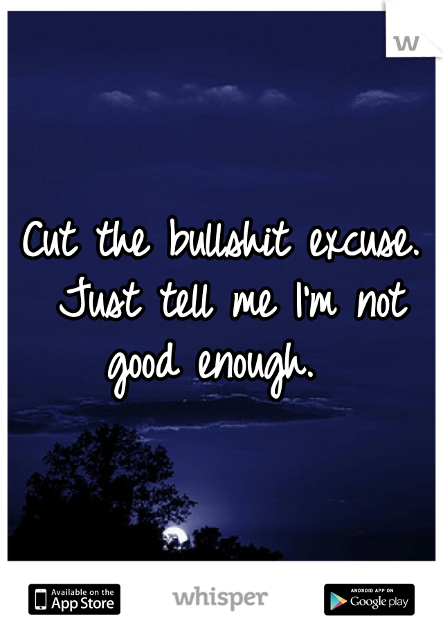 Cut the bullshit excuse. Just tell me I'm not good enough.
