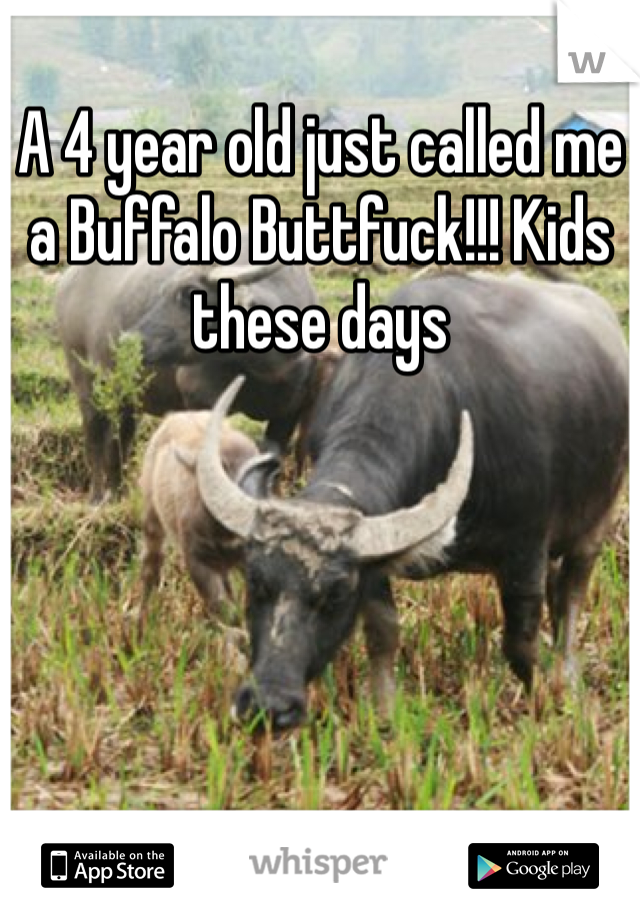 A 4 year old just called me a Buffalo Buttfuck!!! Kids these days