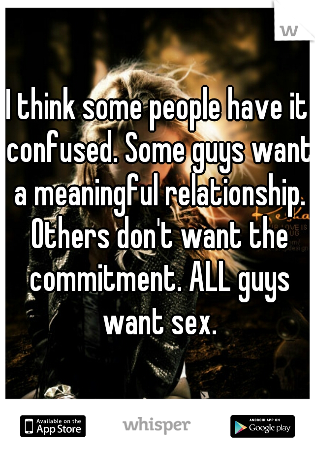 I think some people have it confused. Some guys want a meaningful relationship. Others don't want the commitment. ALL guys want sex.