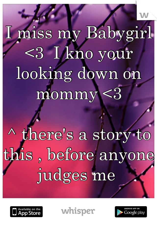 I miss my Babygirl <3  I kno your looking down on mommy <3   ^ there's a story to this , before anyone judges me
