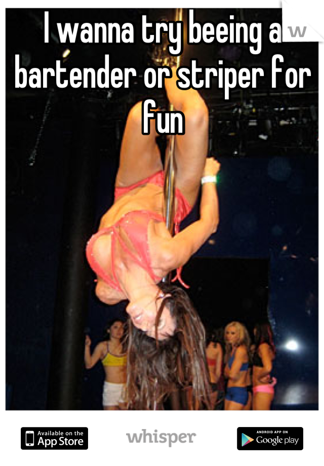 I wanna try beeing a bartender or striper for fun
