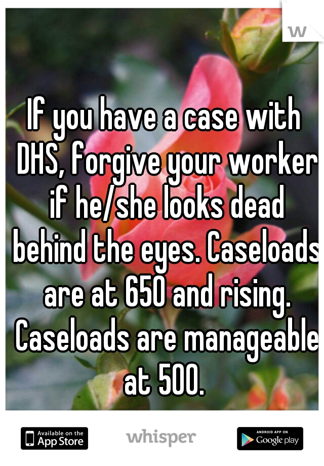 If you have a case with DHS, forgive your worker if he/she looks dead behind the eyes. Caseloads are at 650 and rising. Caseloads are manageable at 500.