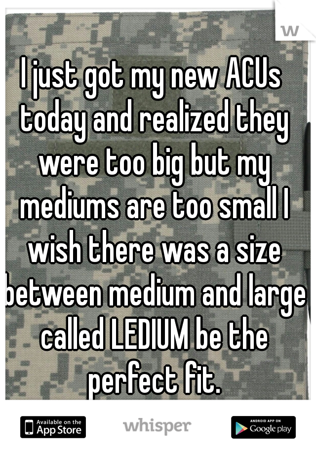 I just got my new ACUs today and realized they were too big but my mediums are too small I wish there was a size between medium and large called LEDIUM be the perfect fit.