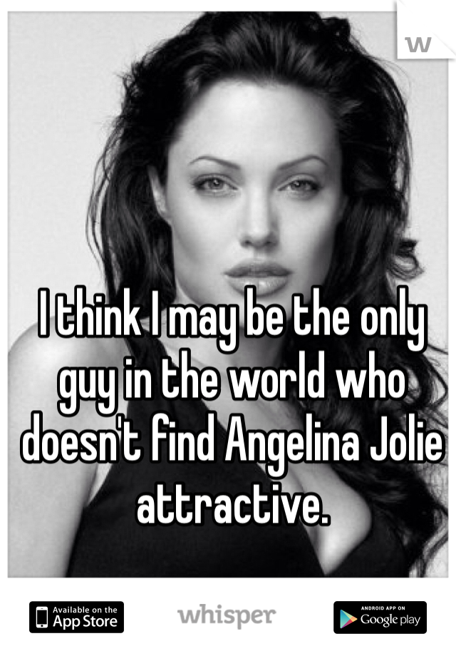 I think I may be the only guy in the world who doesn't find Angelina Jolie attractive.