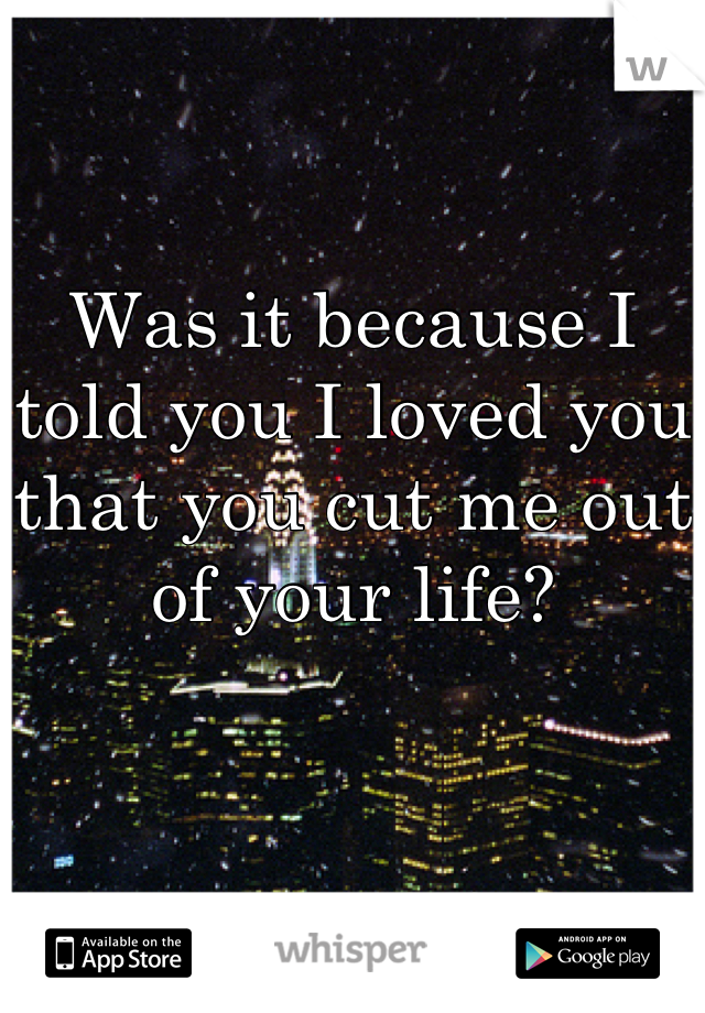 Was it because I told you I loved you that you cut me out of your life?