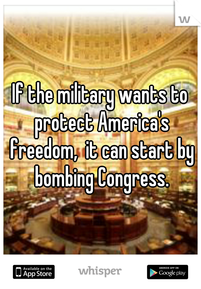 If the military wants to protect America's freedom,  it can start by bombing Congress.