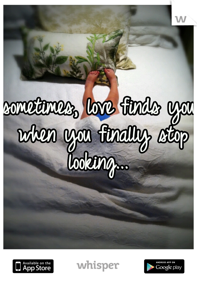 sometimes, love finds you when you finally stop looking...