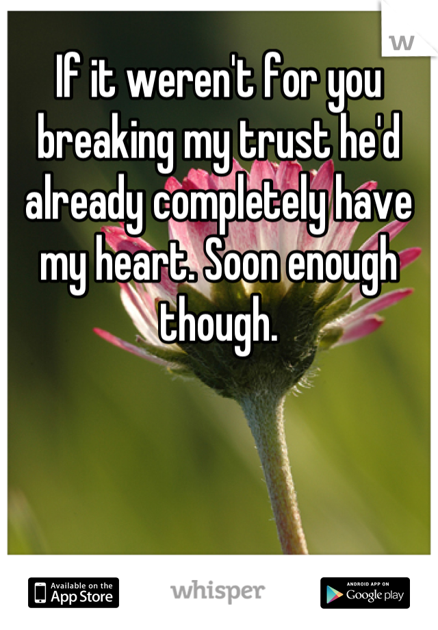 If it weren't for you breaking my trust he'd already completely have my heart. Soon enough though.