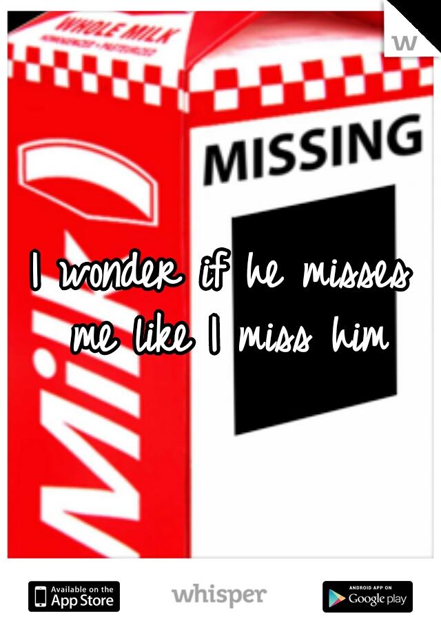 I wonder if he misses me like I miss him