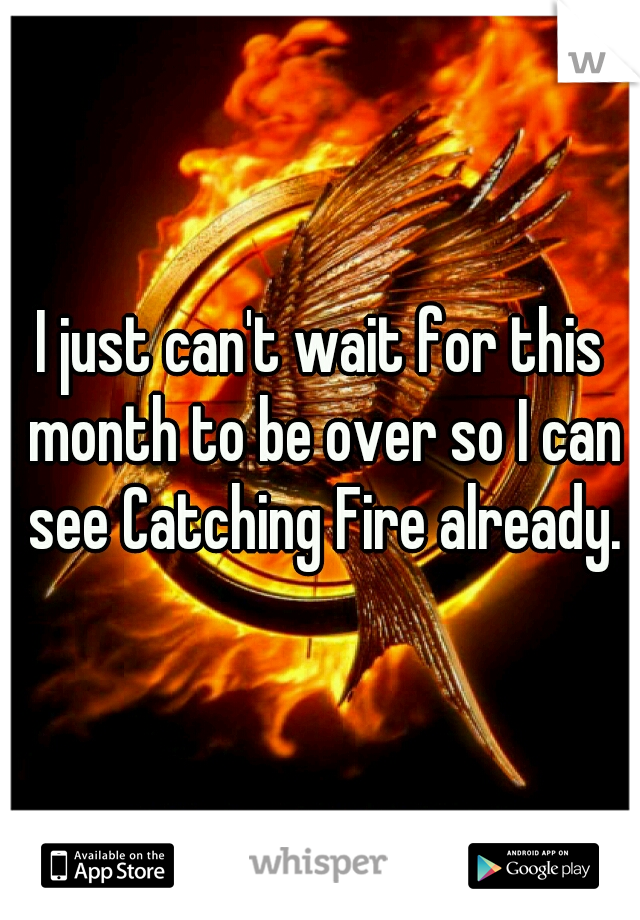 I just can't wait for this month to be over so I can see Catching Fire already.