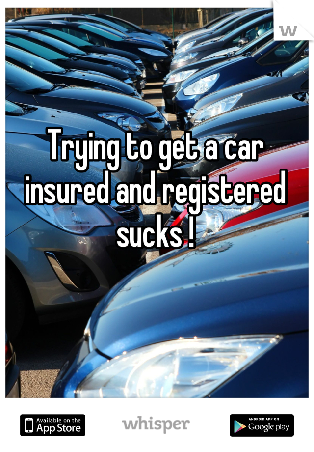 Trying to get a car insured and registered sucks !