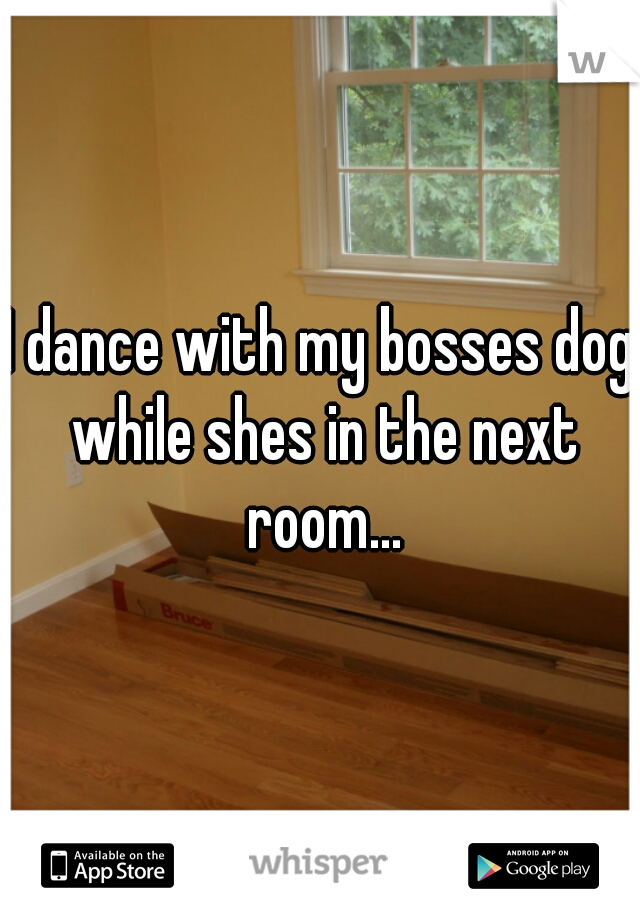 I dance with my bosses dog while shes in the next room...