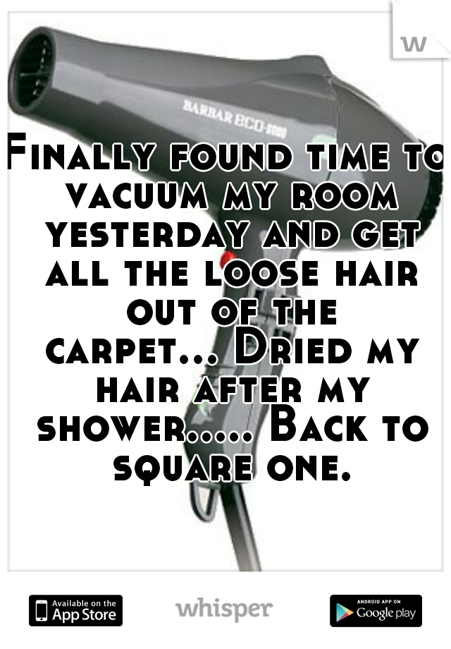 Finally found time to vacuum my room yesterday and get all the loose hair out of the carpet... Dried my hair after my shower..... Back to square one.