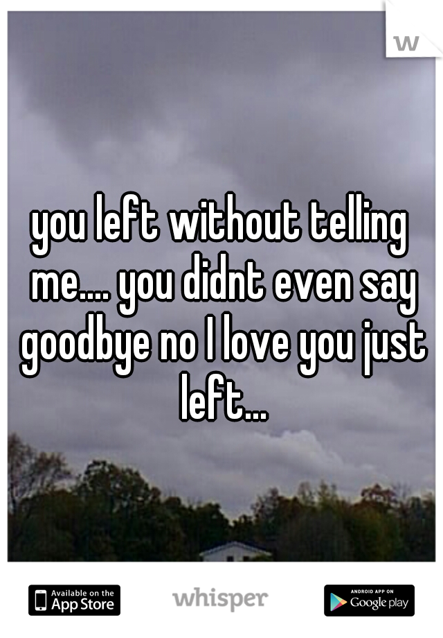 you left without telling me.... you didnt even say goodbye no I love you just left...