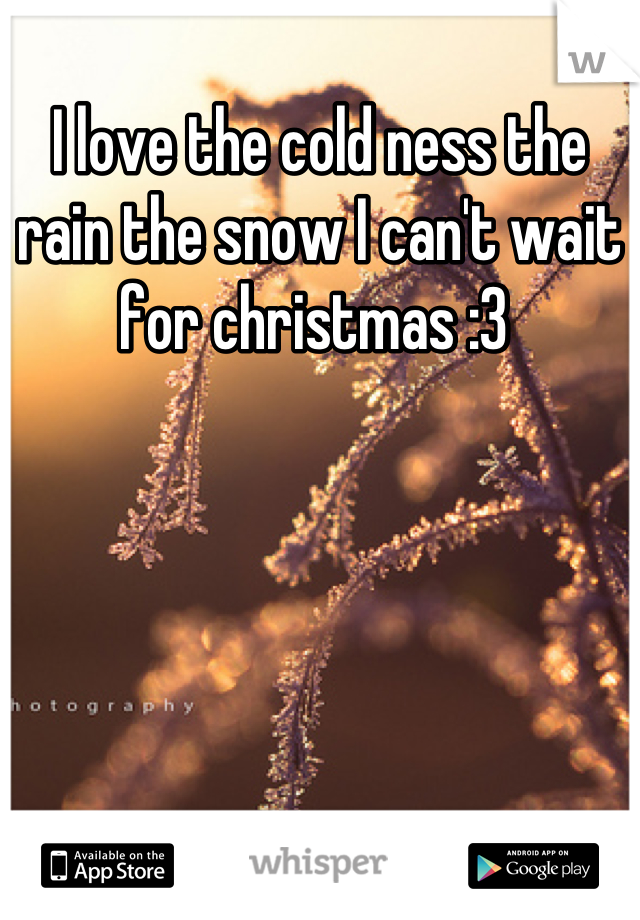 I love the cold ness the rain the snow I can't wait for christmas :3
