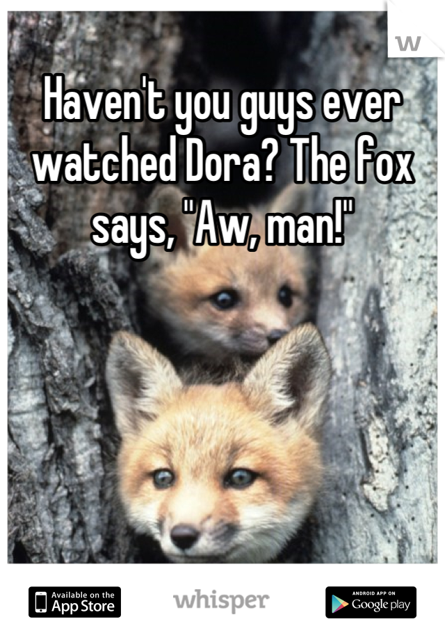 "Haven't you guys ever watched Dora? The fox says, ""Aw, man!"""