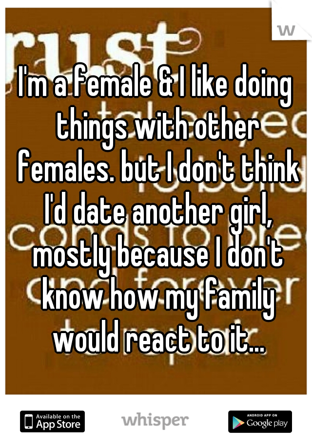 I'm a female & I like doing things with other females. but I don't think I'd date another girl, mostly because I don't know how my family would react to it...