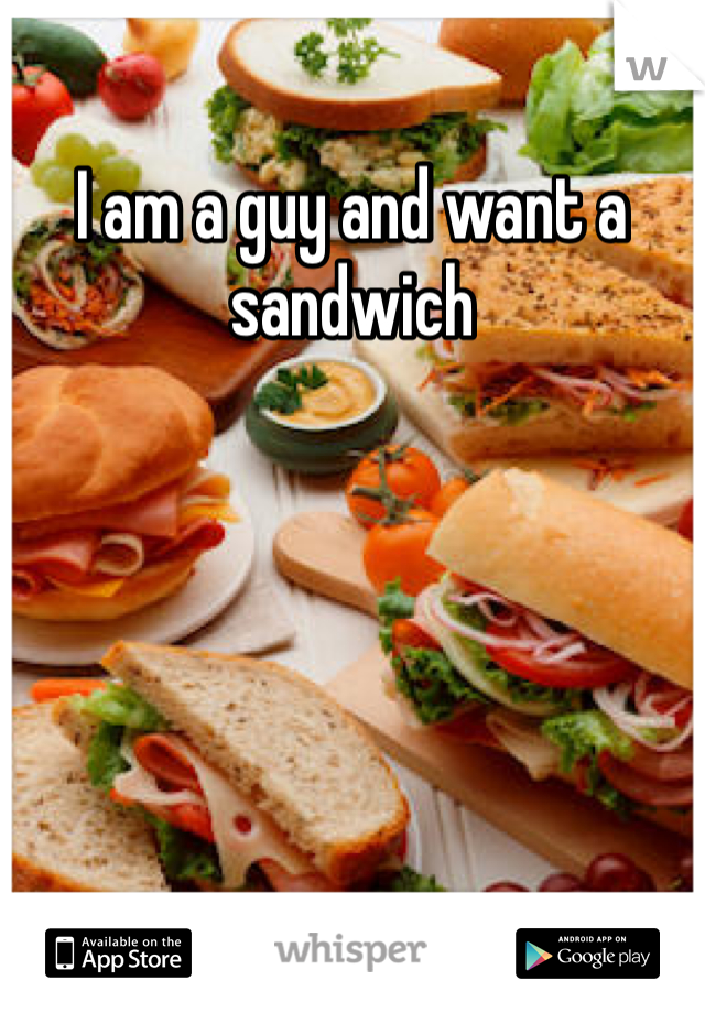 I am a guy and want a sandwich