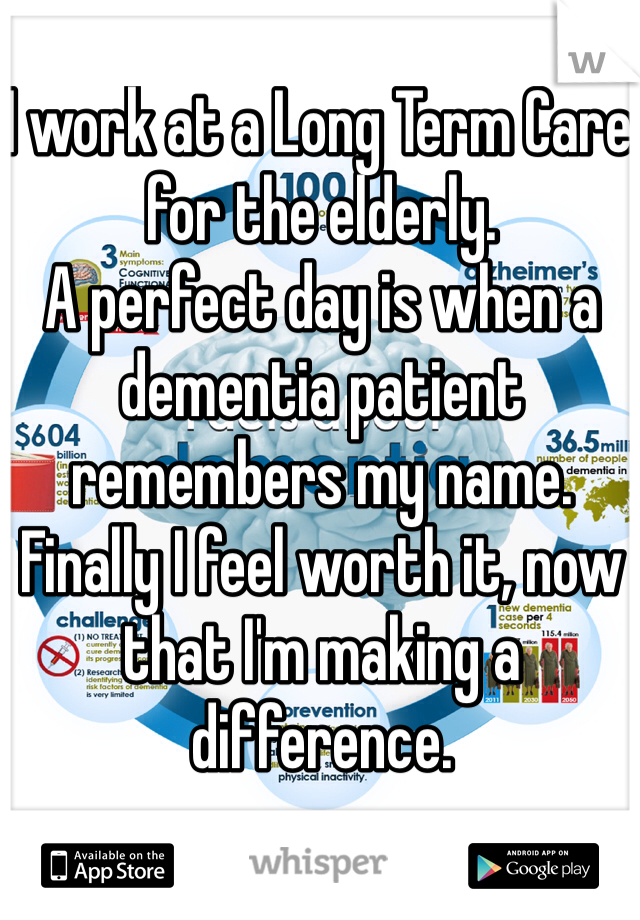 I work at a Long Term Care for the elderly.  A perfect day is when a dementia patient remembers my name.  Finally I feel worth it, now that I'm making a difference.