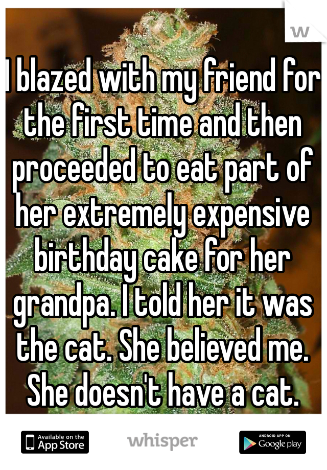 I blazed with my friend for the first time and then proceeded to eat part of her extremely expensive birthday cake for her grandpa. I told her it was the cat. She believed me. She doesn't have a cat.