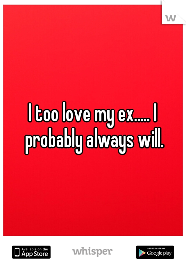 I too love my ex..... I probably always will.