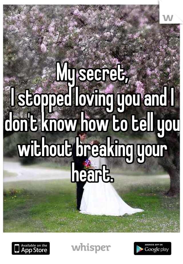My secret,  I stopped loving you and I don't know how to tell you without breaking your heart.