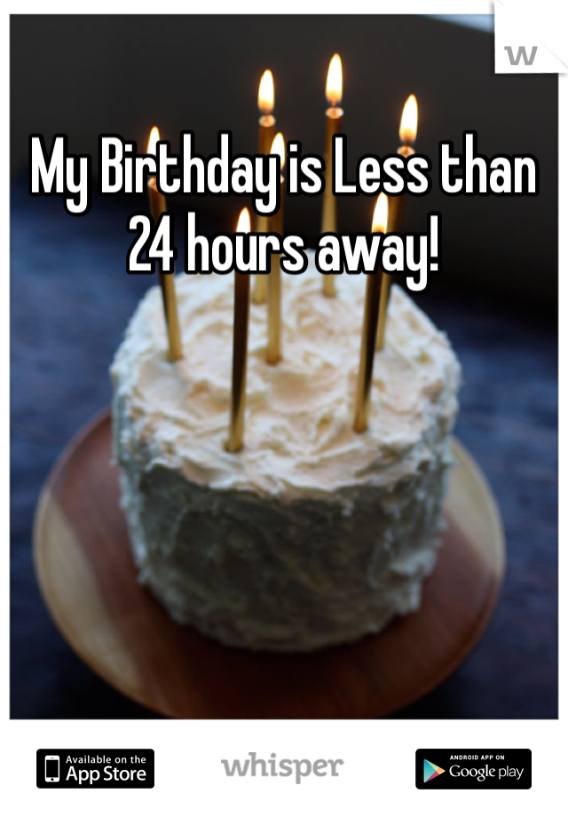 My Birthday is Less than 24 hours away!