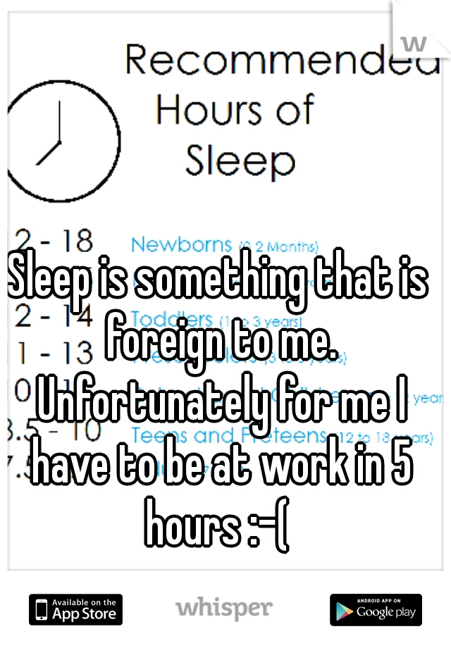 Sleep is something that is foreign to me. Unfortunately for me I have to be at work in 5 hours :-(