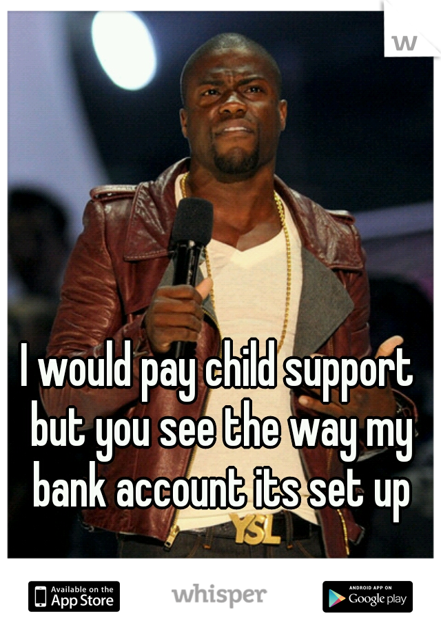 I would pay child support  but you see the way my bank account its set up