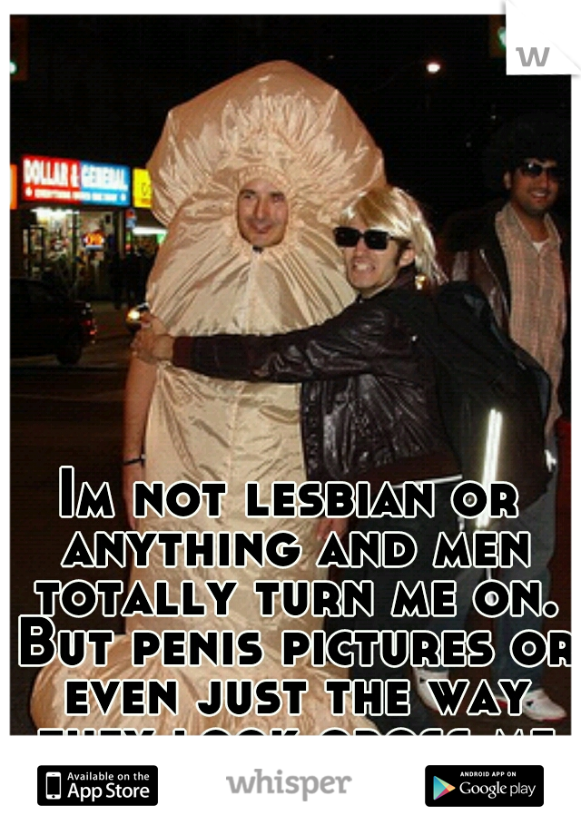 Im not lesbian or anything and men totally turn me on. But penis pictures or even just the way they look gross me out.