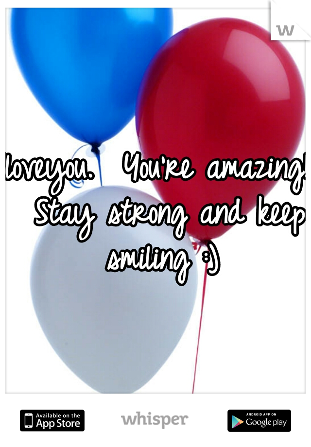Iloveyou.  You're amazing!  Stay strong and keep smiling :)