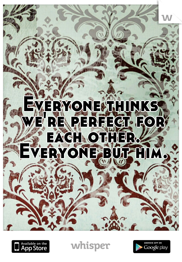 Everyone thinks we're perfect for each other. Everyone but him.
