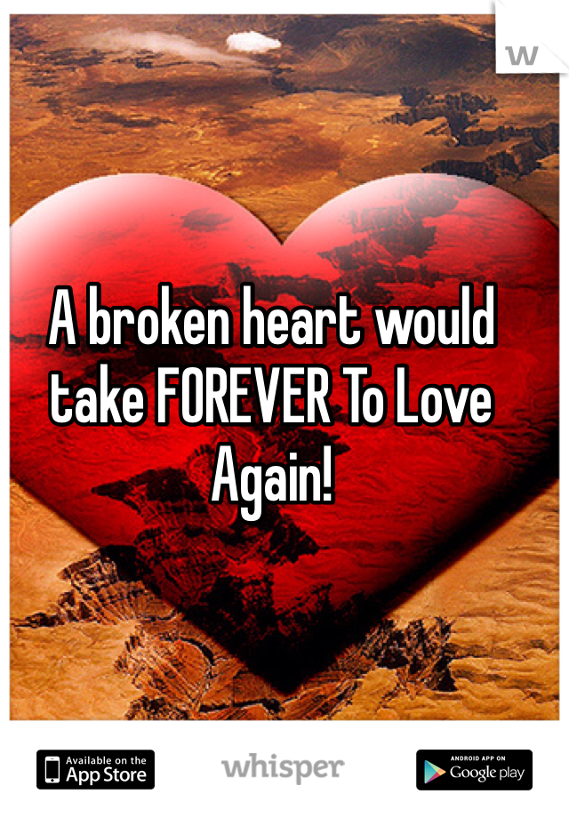 A broken heart would take FOREVER To Love Again!