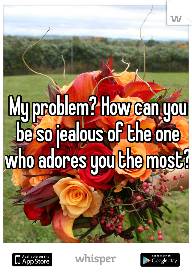 My problem? How can you be so jealous of the one who adores you the most?