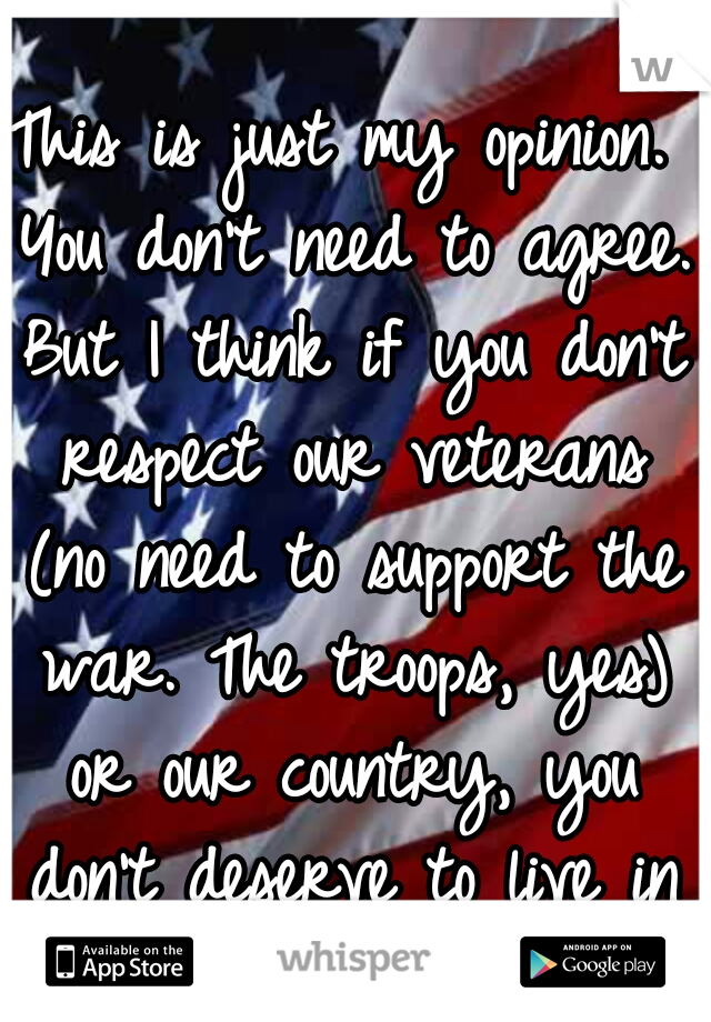 This is just my opinion. You don't need to agree. But I think if you don't respect our veterans (no need to support the war. The troops, yes) or our country, you don't deserve to live in the US.