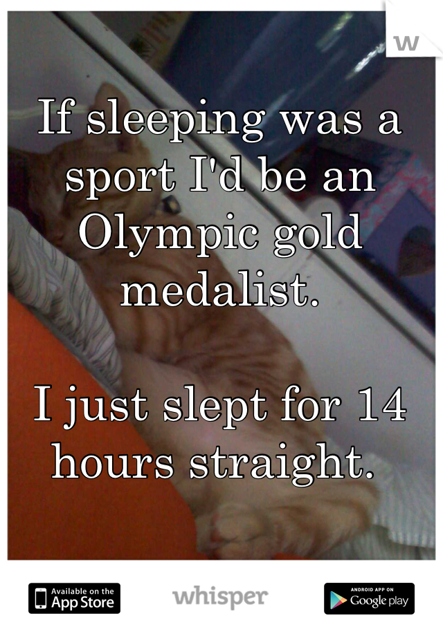 If sleeping was a sport I'd be an Olympic gold medalist.   I just slept for 14 hours straight.