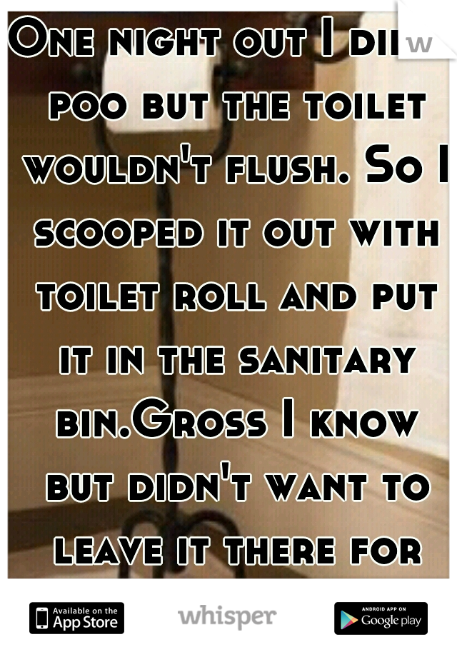 One night out I did a poo but the toilet wouldn't flush. So I scooped it out with toilet roll and put it in the sanitary bin.Gross I know but didn't want to leave it there for the next person.