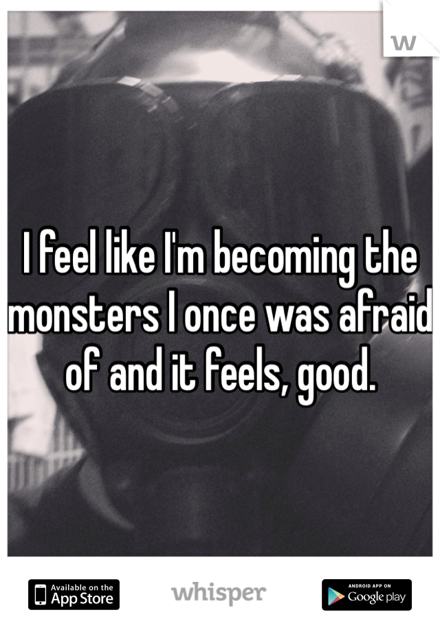 I feel like I'm becoming the monsters I once was afraid of and it feels, good.