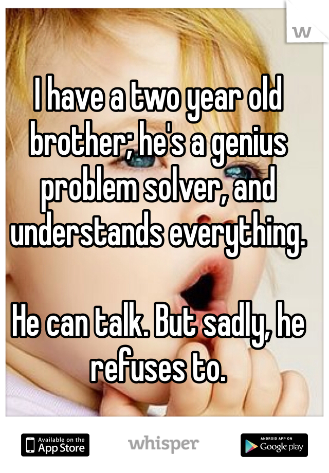 I have a two year old brother; he's a genius problem solver, and understands everything.   He can talk. But sadly, he refuses to.
