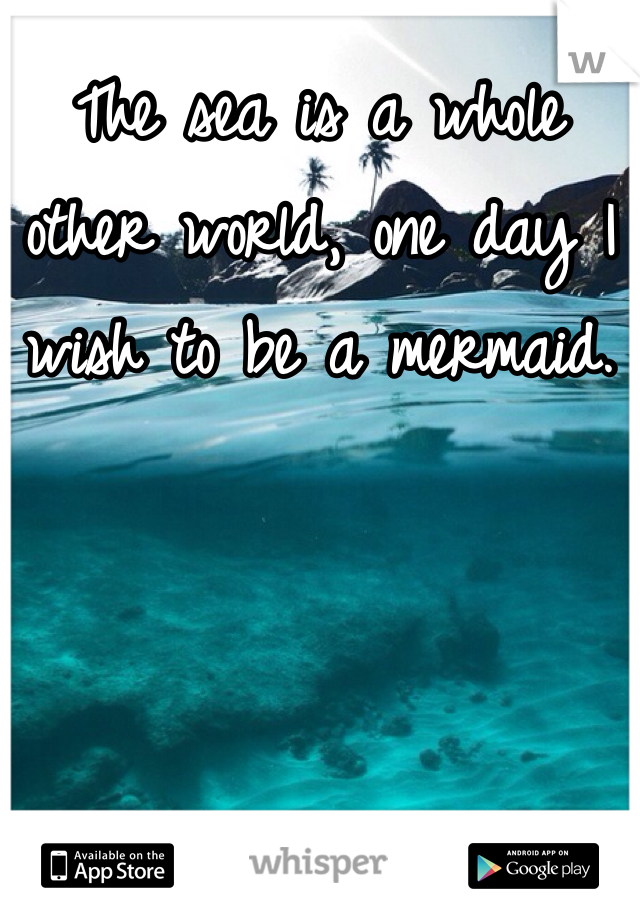 The sea is a whole other world, one day I wish to be a mermaid.