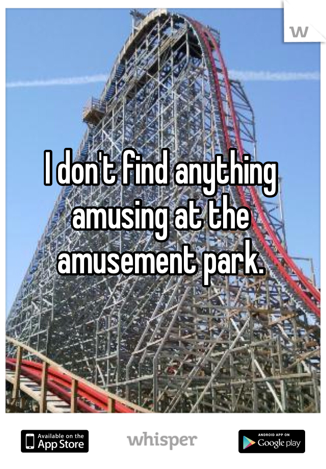 I don't find anything amusing at the amusement park.