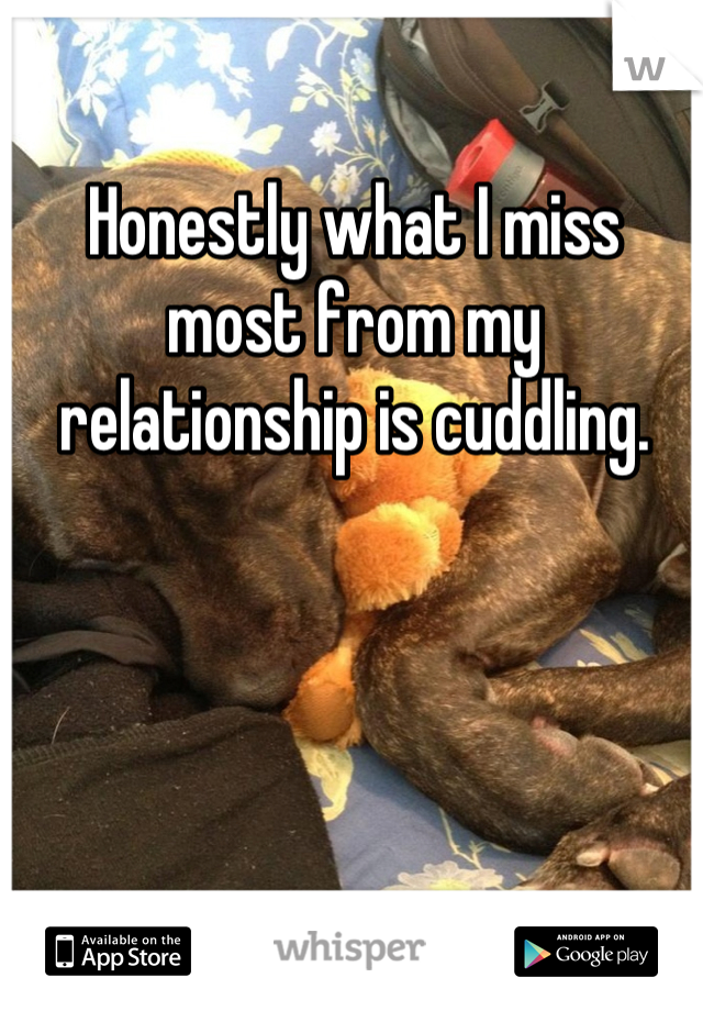 Honestly what I miss most from my relationship is cuddling.