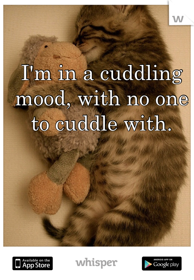 I'm in a cuddling mood, with no one to cuddle with.