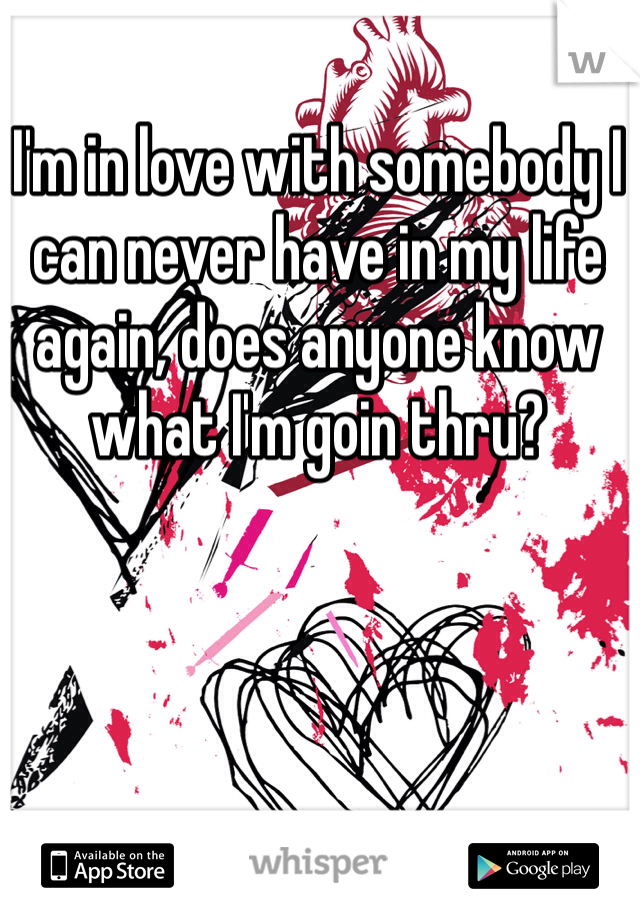 I'm in love with somebody I can never have in my life again, does anyone know what I'm goin thru?