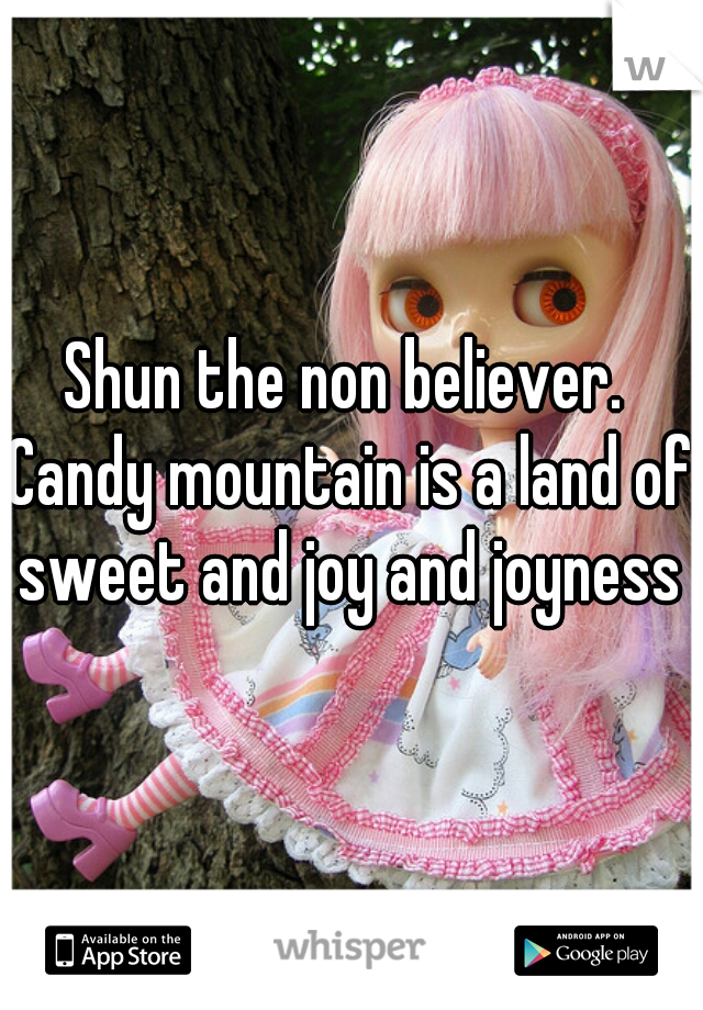 Shun the non believer.   Candy mountain is a land of sweet and joy and joyness
