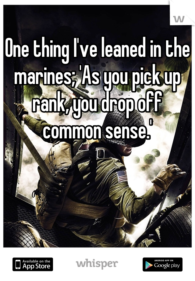 One thing I've leaned in the marines; 'As you pick up rank, you drop off common sense.'