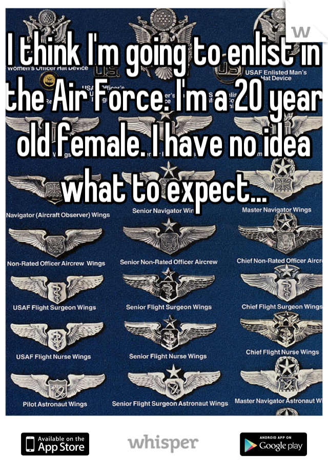 I think I'm going to enlist in the Air Force. I'm a 20 year old female. I have no idea what to expect...