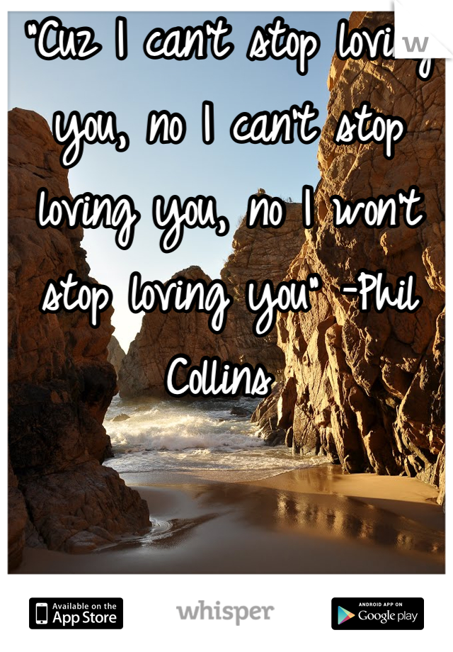 """""""Cuz I can't stop loving you, no I can't stop loving you, no I won't stop loving you"""" -Phil Collins"""