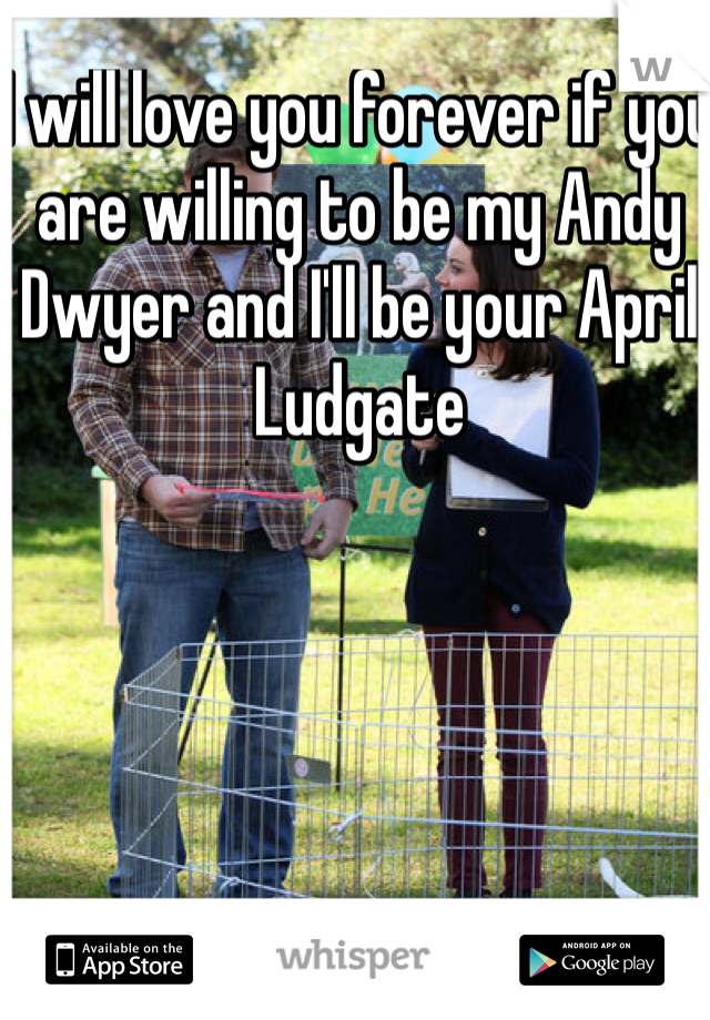 I will love you forever if you are willing to be my Andy Dwyer and I'll be your April Ludgate