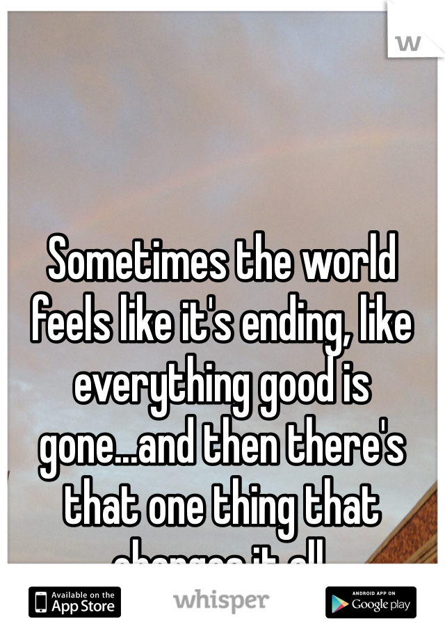 Sometimes the world feels like it's ending, like everything good is gone...and then there's that one thing that changes it all.
